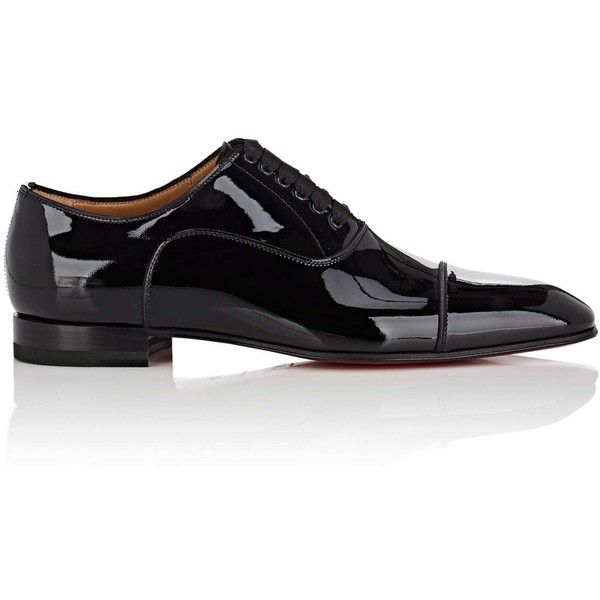 Christian Louboutin Men's Greggo Flat Patent Leather Balmorals ($850) ❤ liked on Polyvore featuring men's fashion and men's shoes