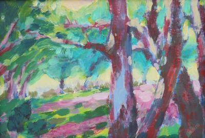 Jitka Enochová - (buutcha) - Originální obraz Alej, malba akrylem na desce, zarámován černým rámečkem, autor, rozměry 24,5 x 33,5 cm