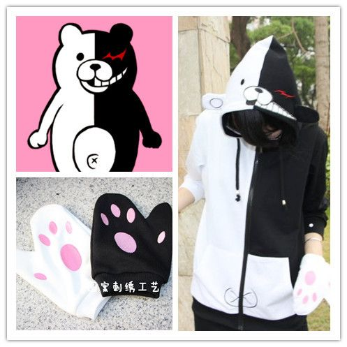 Danganronpa: Trigger Happy Havoc monokuma cosplay monokuma costumes Zipper hooded anime leisure autumn clothes hu127