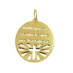Medalha Tudo posso naquele que me fortalece em Our... - RD JÓIAS ... 9332b44bad