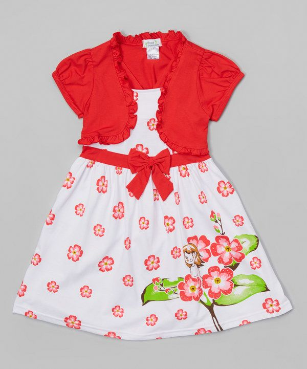 Look at this Red Flower Bow Dress & Shrug - Toddler & Girls on #zulily today!