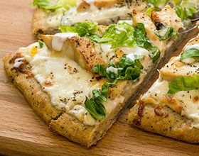 Chicken Caesar Pizza with ready made crust