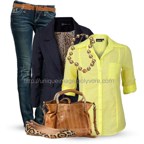 Classic Outfits - blazers, shirts, jeans, flat shoes, bags, necklaces, belts