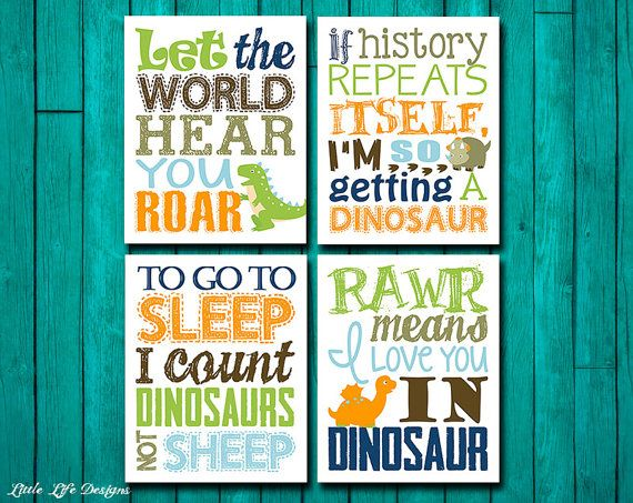 Dinosaur Wall Art. Dinosaur Wall Decor. By LittleLifeDesigns