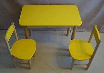 KIDS table & 2 chairs classroom wooden SOLID WOOD Garden Furniture Patio YELLOW in Home, Furniture & DIY, Children's Home & Furniture, Furniture | eBay