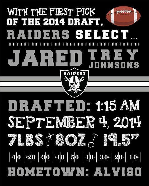 NFL Oakland Raiders Birth Announcement by FaithFamilyFunDesign