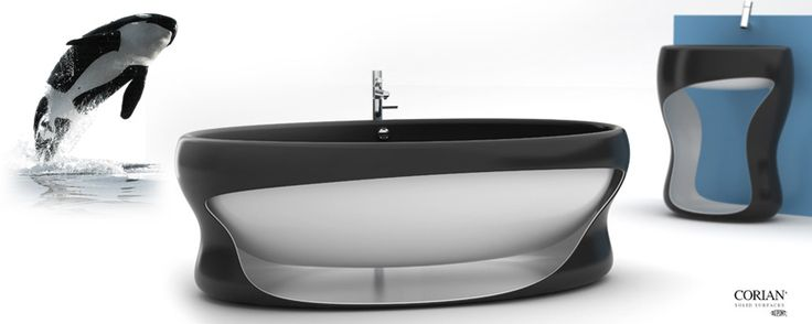 K-Whale bath and wash-stand Manworksdesign  Aqueous environment, speed, dynamics and organics are embodied into simple geometry, inspired by a killer whale. Material – two layers of corian 12,3 mm thick.  Top100 in the Skin of Corian® DuPont 2006 contest. Status - concept.
