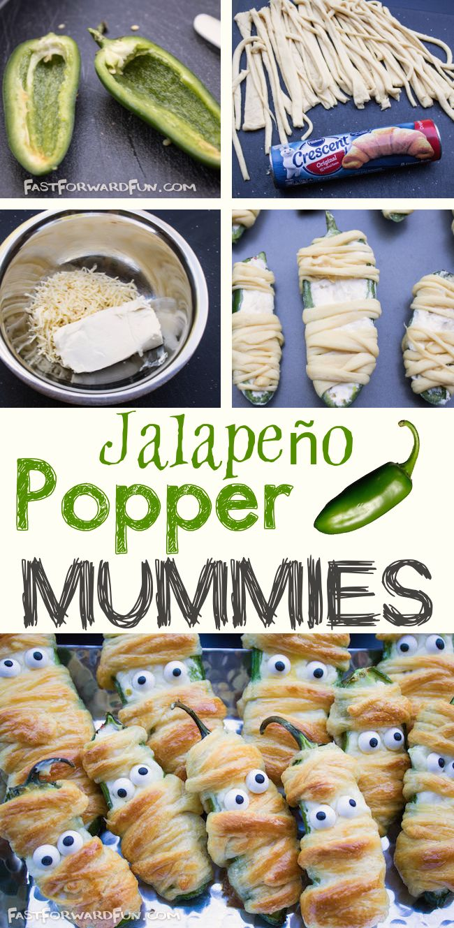 Jalapeño Popper Mummis -- Super fun and easy Halloween snack! (fast video tutorial and step-by-step photos). Fast Forward Fun
