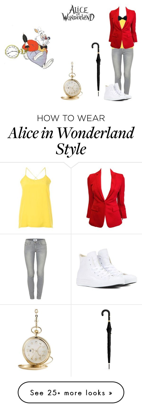 """White Rabbit"" by melindaisinsane on Polyvore featuring KIENZLE, Paige Denim, Christian Wijnants, Alexander McQueen, Givenchy, Ike Behar, Converse and disney"