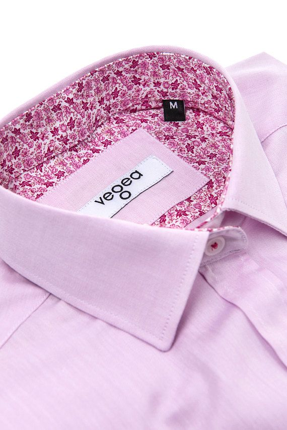 Pink Woman Blouse, Woman Blouse, Woman Shirt, Casual Shirt, Cotton Shirt, Long Sleeve Blouse.  Woman's casual slim fit shirt. Long Sleeves with buttoned cuffs, classic collar, button front. Oxford pattern with pink flowers garnitures. Great for office and casual look. The soft fabric 100%