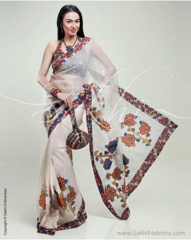 Translucent Banarasi Net #silk #saree featuring Kalamkari appliqué and #embroidery detailing.