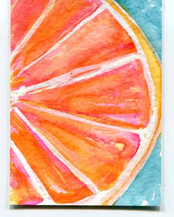 Ruby Red Grapefruit Watercolor Painting, ACEO Origina