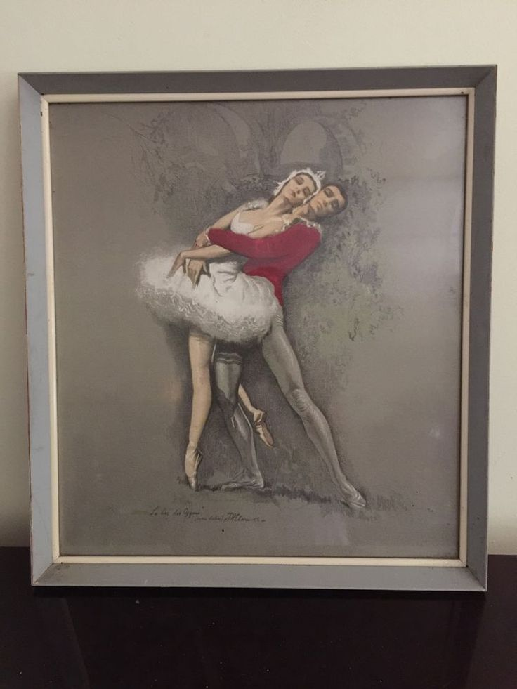 RARE MID CENTURY ART PRINT SWAN LAKE BALLET NUREYEV  TRETCHIKOFF  STYLE FRAMED