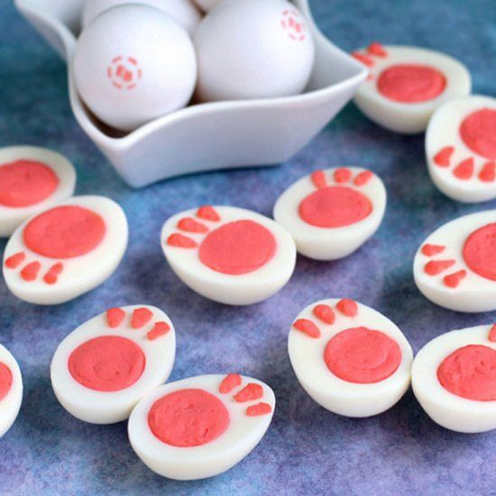 Turn ordinary deviled eggs into these adorably cute bunny feet for Easter.
