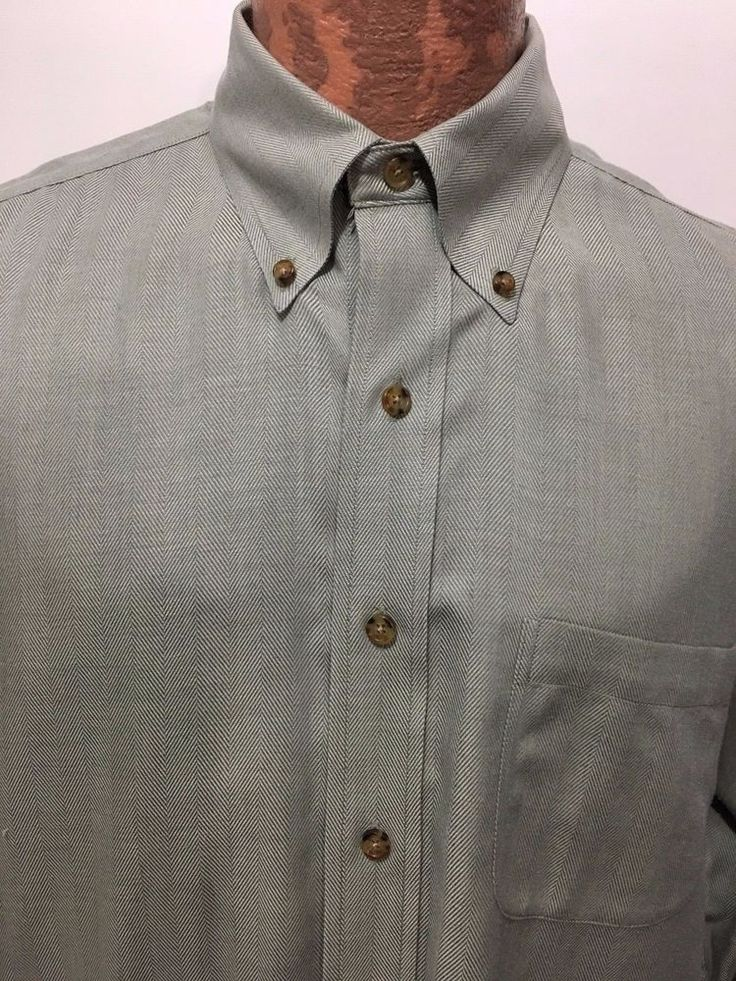 Brooks Brothers Mens L / R Green Herringbone Cotton Cashmere Button-Down Shirt  #BrooksBrothers