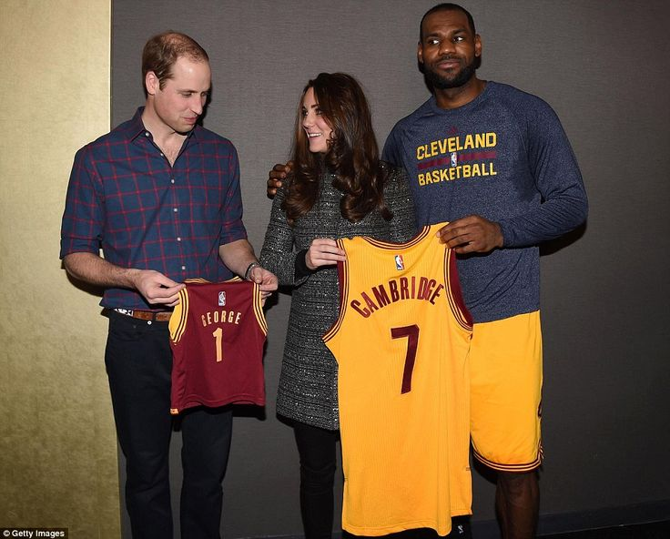 Hoops! NBA star LeBron James breaches royal etiquette by putting his arm around the Duchess of Cambridge