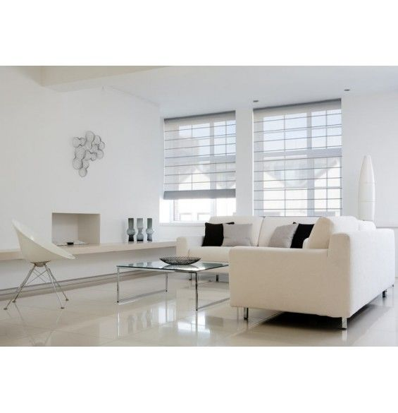 Window Blinds- Option 1: Roman Shade Grey/White mesh material (semi-opaque) Delivery: 3 weeks