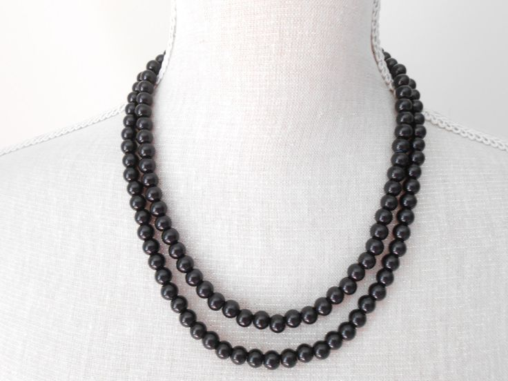 Handmade Two strand black glass pearls great gift for mom women wife best friend Valentines present for her Christmas day wedding (7.75 GBP) by MisticPearls