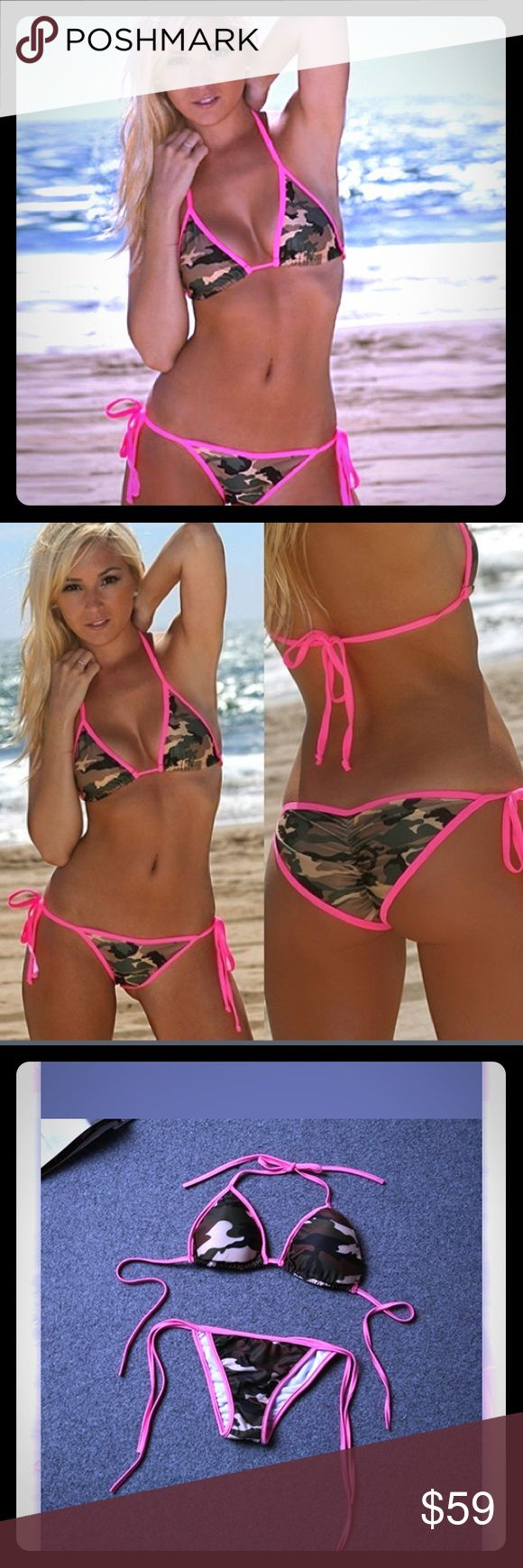 Only 2 In stock sexy camo & hot pink bikini  Amazingly sexy camo & hot pink bikini . You will love this rare sexy #. Rare find! While they last. Not actual vs pink... Listed for exposure. PINK Victoria's Secret Swim Bikinis