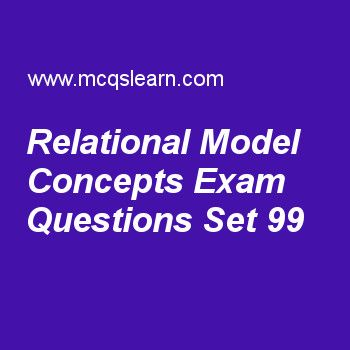 Learn quiz on relational model concepts, DBMS quiz 99 to practice. Free database management system MCQs questions and answers to learn relational model concepts MCQs with answers. Practice MCQs to test knowledge on relational model concepts, client server architecture, relational algebra operations and set theory, schemas statements in sql, select and project worksheets. Free relational model concepts worksheet has multiple choice quiz questions as tuples in relation are sensitive to...