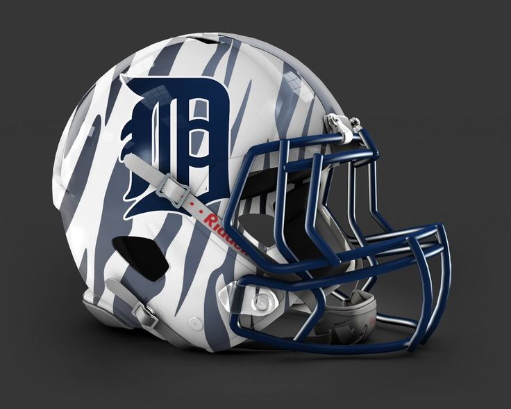 Nfl inspired detroit tigers helmet white tiger attack