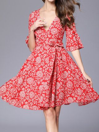 A-line Chiffon Casual Bell Sleeve Printed Plus Size Holiday Dress