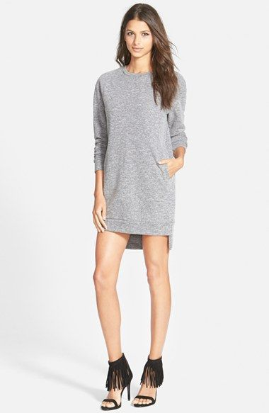 Free shipping and returns on GLAMOROUS Sweatshirt Tunic Dress (Online Only) at Nordstrom.com. Dropped shoulders and a crisp step hem with side vents accentuate the oversized fit of a long-sleeve tunic dress cut from a soft cotton blend.
