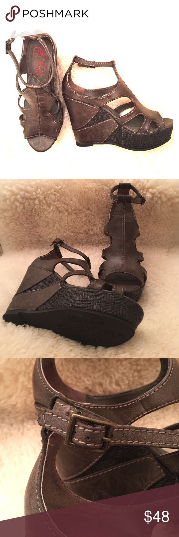 Big Buddha wedge sandals Very chic slate grey wedge heels by Bug Buddha. Faux-leather with a basket-weave detail, never worn outside the house so they're in perfect condition! Big Buddha Shoes Wedges