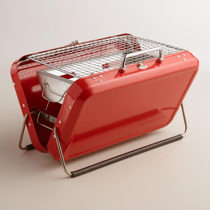 Cook anywhere you go with our portable barbeque briefcase that unfolds into a convenient charcoal grill for two. >> #WorldMarket Game Day Essentials