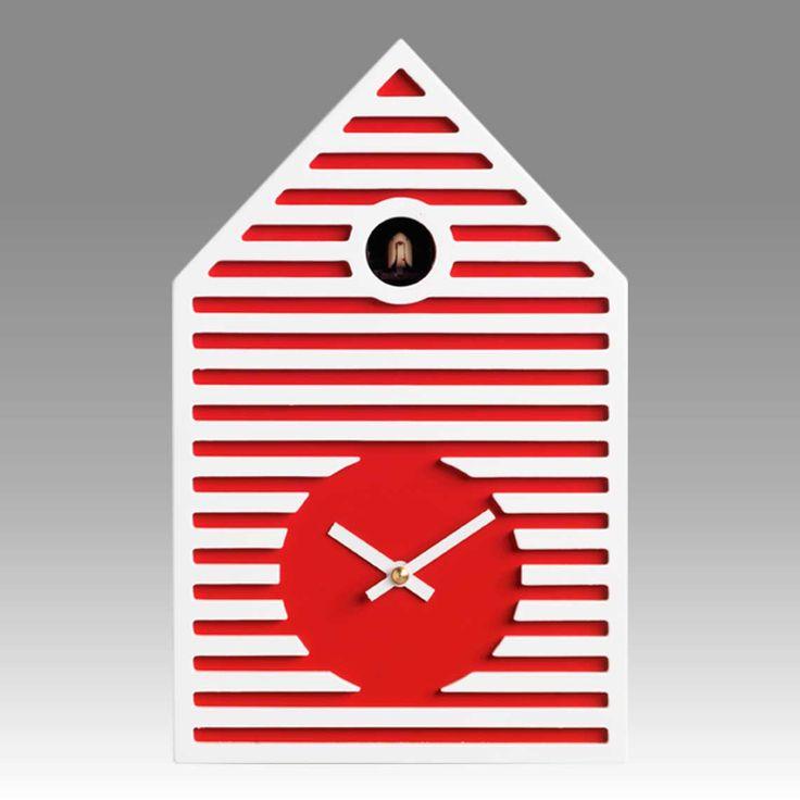 Contemporary cuckoo clock Art.beach 2597 lacquered with acrilic color red