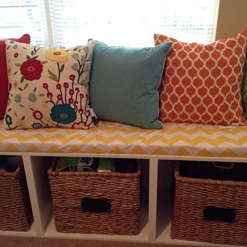 We made Custom window seat cushions for the best children's playroom I have ever seen. #customSewingProject #window seat