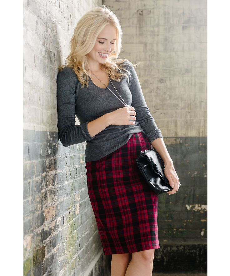 Red Plaid Pencil Skirt in Red Plaid #rickis #fall2015