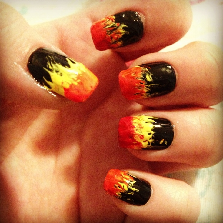 Start out by painting your nails black. Apply top coat to protect the black from coming off. Apply next color at the tip and bring up in an S shape with a needle or tooth pick. Repeat with next color. Design works best with bright/neon colors