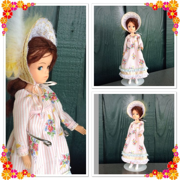 A Jane Austin style outfit for Sindy. I made it from a basic pattern in an old Golden hands book