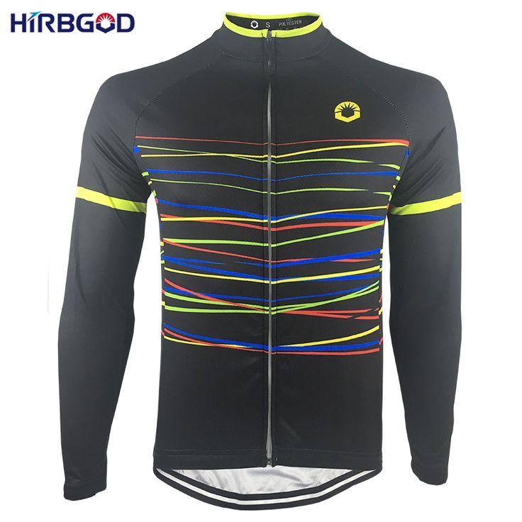 HIRBGOD Color Stripes Men Mountain Bike Jerseys Autumn Long Sleeve Outdoor Breathable Bike Clothes Men MTB DH Cycling Wear,NR160 #Affiliate