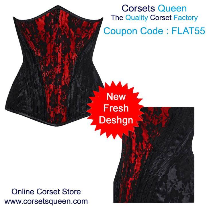 Berneice Waist Trainer Net Overlay Corset, Black and Red Corset Dress