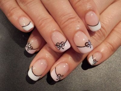 Simple bow french tip nail art