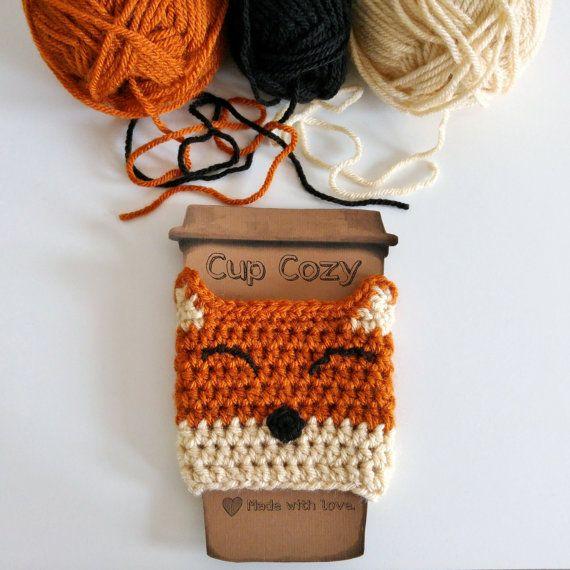 Happy Fox Cup Cozy Fox Cup Cozy Crochet Cup by TinyBubblesCrafts