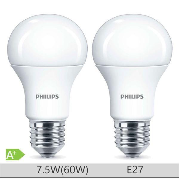 Set 2 Becuri LED Philips 7.5W E27 forma clasica A60, lumina neutra http://www.etbm.ro/becuri-led