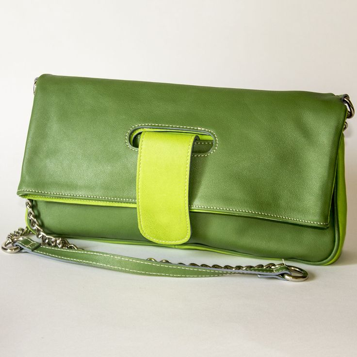 Duotone Green and Lime Flap Shoulder Leather Bag – lulutza shop