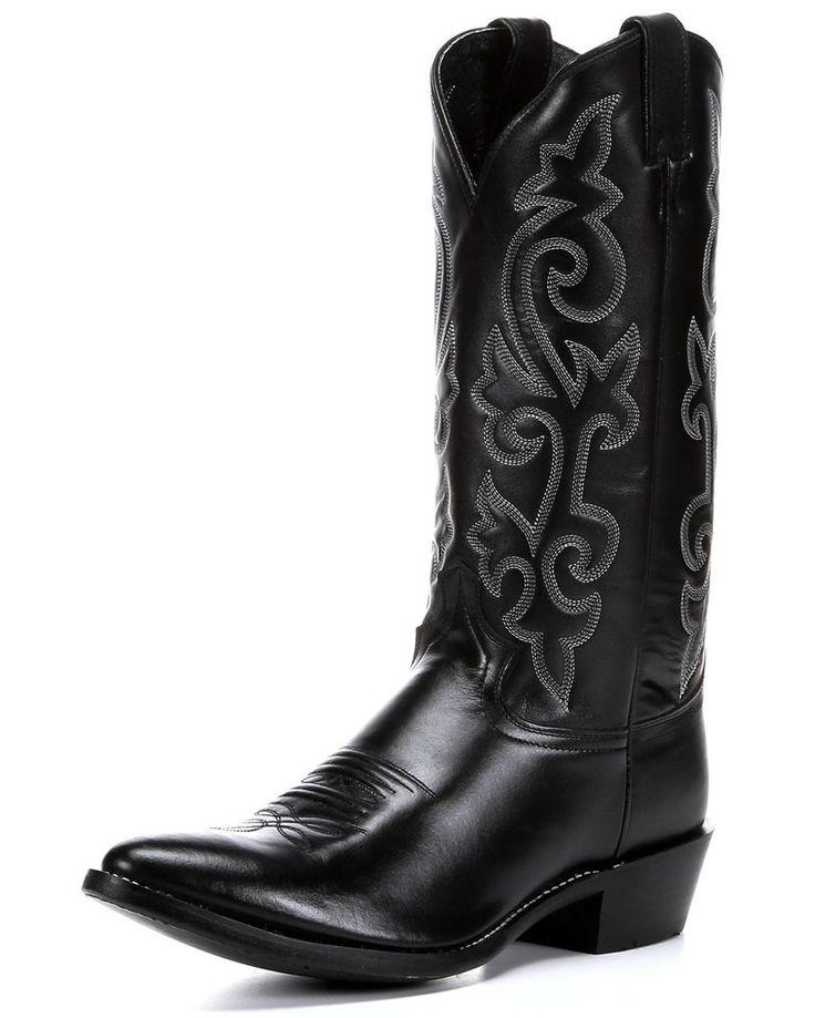 Justin London Calfskin Cowboy Boots - Medium Toe