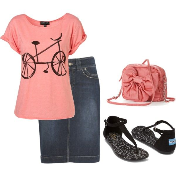 A fashion look from August 2014 featuring kew.159 skirts, TOMS sandals and Candie's shoulder bags. Browse and shop related looks.