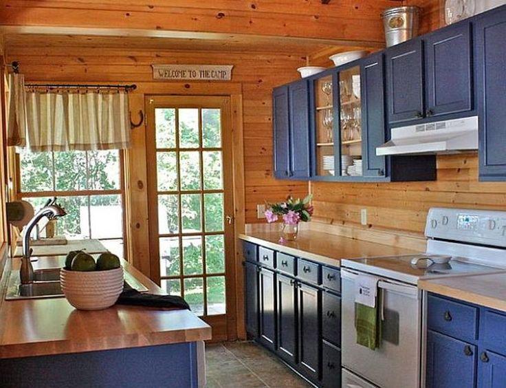 Image result for blue brown kitchen