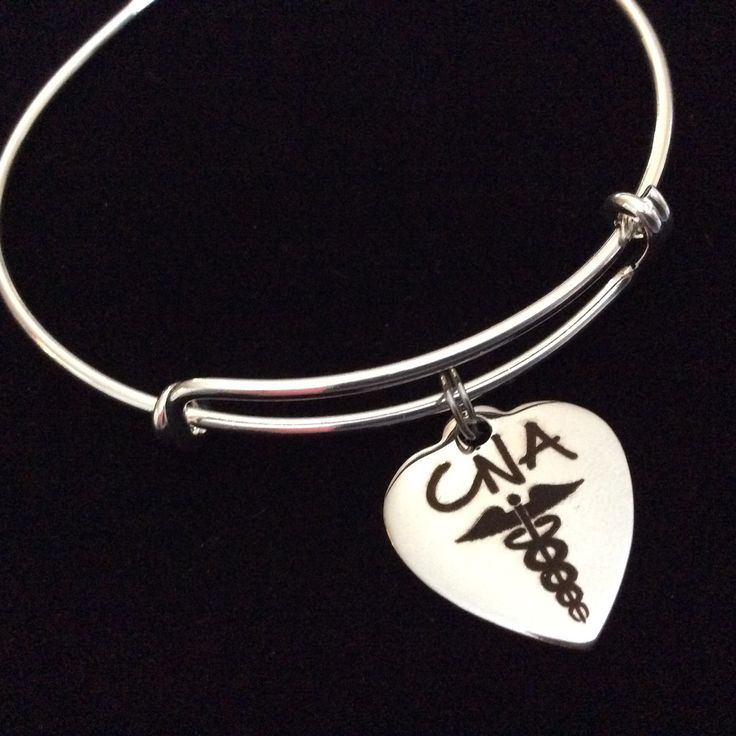 CNA Heart Stainless Steel Charm on Silver