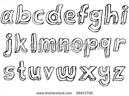 Hand+Block+Lettering+Font | Grungy hand drawn lowercase alphabet / font / letters. - stock photo