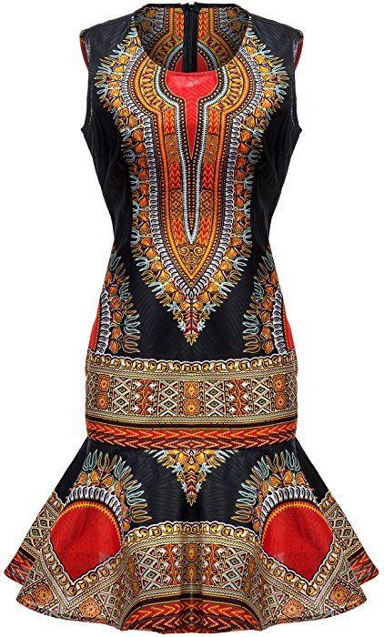 7de422d8655e6 Amazon.com: Shenbolen Woman African Print Dress Dashiki Traditional Dress  Party Dresses (X-Small, A): Clothing
