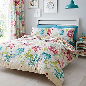 Catherine Lansfield Stab Stitch Floral Duvet Cover & Standard Pillowcase Set #kaleidoscope #bedroom
