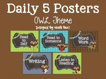 These posters were made to compliment an Owl Theme and includes the following posters:Daily 5 (Title Poster)Read to Self Read to SomeoneWord WorkWritingListen to ReadingRead with Teacher (2 background choices)All posters come with and without background and with and without wording.The Daily 5 and CAFE are trademark and copy written content of Educational Design, LLC and The 2 Sisters.