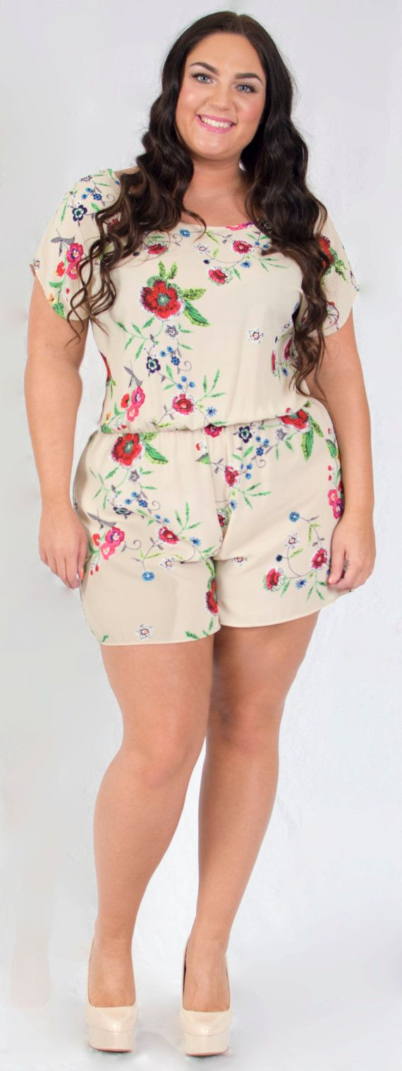 Plus Size Short Sleeve Beige Floral Print Romper by LaBellaXPlus #slimmingbodyshapers   To create the perfect overall style with wonderful supporting plus size lingerie come see slimmingbodyshapers.com