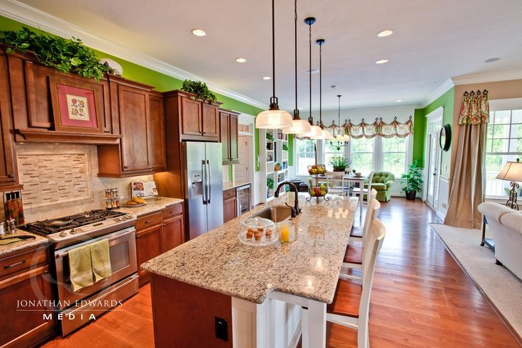 Craftsman Kitchen with Marble.com African Savannah Granite, Leland Pull-Down Kitchen Faucet, Flat panel cabinets, Stone Tile